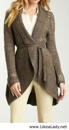A dress up or down sweater: Wrap sweater