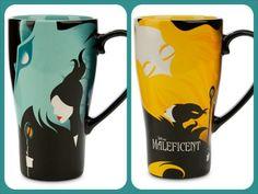 Disney Malificent Tall Coffee Mug Set of 2 Blue and Yellow