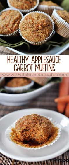 These healthy applesauce carrot muffins are low in fat low in refined sugar and packed with applesauce and carrots.