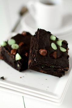 Mint Chocolate Chip Brownies YUM! I just found a use for the .75 packages of Dark Chocolate and mint chips!