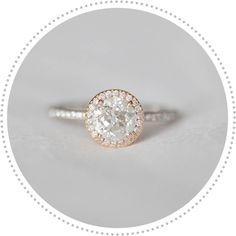 vintage style engagement ring, rose gold engagement ring, round center stone engagement ring :)