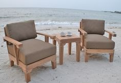 The Natori Collection 3 Piece Grade A Plantation Teak Patio Furniture Chat Set