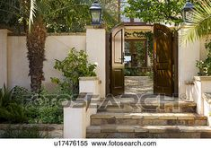 Front Gate and Steps to Spanish Style Home View Large Photo Image House Design, Spanish Style Home, Spanish Style Homes, Garden Design Layout, French Country Style, Stucco Walls, Front Gates, Tuscan Style, House Exterior