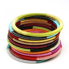 Silk-wrapped bangles (set of 10) $59