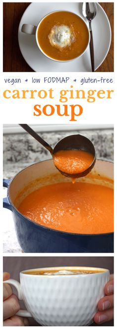 A super yummy way to eat fresh ginger! A healthy and flavourful vegan low FODMAP Carrot Ginger Soup. Perfect for those on the low FODMAP diet and/or sensitive to onions. Fodmap Diet, Low Fodmap, Fodmap Foods, Soup Recipes, Vegetarian Recipes, Healthy Recipes, Potato Recipes, Dinner Recipes, Carrot Ginger Soup Vegan