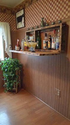 Rustic Murphy Bar Wall mount Bar Man Cave Liquor Cabinet Custom & DIY Minibar Design Inspirations an Mini Bars, Liqueur Armoire, Murphy Bar, Wall Mounted Bar, Bar On Wall, Home Bar Designs, Kitchen Designs, Kitchen Trends, Pallet Furniture