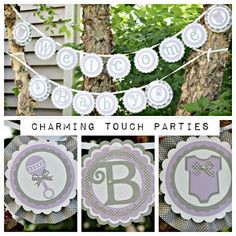 """Baby Shower """"Welcome Baby"""" deluxe boutique banner by Charming Touch Parties.  Lavender and grey.  Color customization available. by CharmingTouchParties on Etsy"""