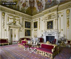 Wilton House, Wiltshire England - The Single Cube Room. Palladian-styled interior & white marble chimneypeice designed by Inigo Jones. Painted ceiling by Mannerist Italian painter Cavalier D'Arpino depicts Daedalus & Icarus. the room features paintings by Van Dyke & Lely. (Kiera Knightly was filmed for Pride & Prejudice in this room)