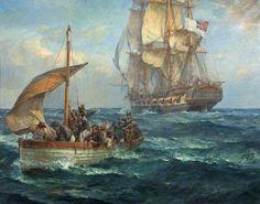 The Loyal Men of the Bounty Bernard Finnigan Gribble 1915 Sailboat Art, Nautical Art, Ship Paintings, Your Paintings, Old Sailing Ships, Naval History, Art Uk, Ship Art, Tall Ships