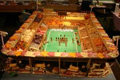 STRANGE FUN FOODS - HUGE SUPER BOWL STADIUM SNACK AND SANDWICH DISPLAY - MEATS & CHEESES AND EVERYTHING ELSE