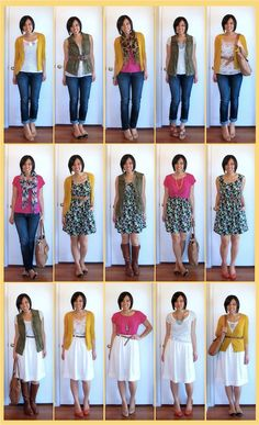 8 pieces, 15  looks - love the mix and match outfits that work for different seasons