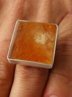 Amber Ring,orabge, whire, polished, matte sterling Silver rail,genuine amber,nuggets,modern design,for she, giftbox, New,UNIQUE-Handmade von JewellerWithSoul auf Etsy