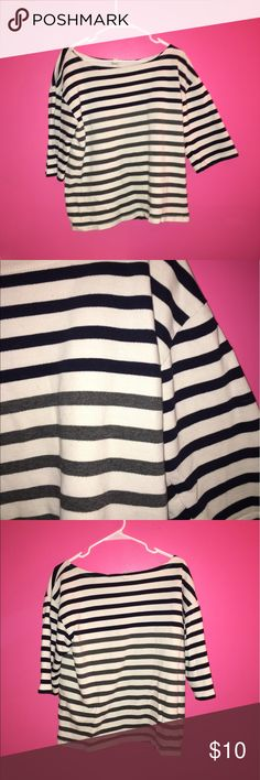 Navy, gray and white striped top Super cute navy, gray and white striped top from j crew. The sleeves are like 3/4 lengths, maybe a little shorter but pass the elbow. Nice, 100% cotton material. High quality, great condition- only worn a few times J. Crew Tops