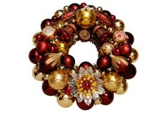 Burgundy & Gold Ornament Wreath