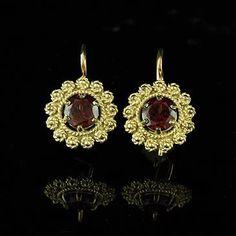 Vintage Style Garnet Earrings 14K Yellow Gold by OroSpot on Etsy, $339.00