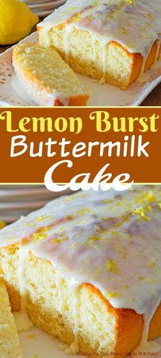The fresh flavor of this sweet and tangy Lemon Burst Buttermilk Cake is a classic that's loved universally It's guarateed to brighten your day. Buttermilk Dessert Recipes, Pound Cake Recipes, Lemon Desserts, Köstliche Desserts, Baking Recipes, Delicious Desserts, Lemon Buttermilk Cake Recipe, Lemon Loaf Cake, Lemon Cakes