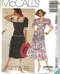 McCall's 4732 Liz Roberts Inc. Misses Dropped Waist Dress Pattern, Size 16, UNCUT by DawnsDesignBoutique on Etsy