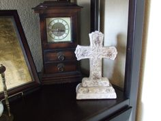 Vintage Standing Ceramic Cross, Standing Ceramic Cross, Look of Cement Table Cross, Mantel Decor, Cross Decor, Vintage Cross, Cottage Chic by BeautyMeetsTheEye on Etsy
