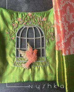 15 Beautiful Maggam Work Blouse Designs by Nyshka Design Studio with price details for kanjeevaram sarees designer sarees and plain sarees with detail Cutwork Blouse Designs, Fancy Blouse Designs, Bridal Blouse Designs, Hand Embroidery Designs, Saree Blouse Designs, Embroidery Thread, Cut Work Embroidery, Sari Blouse, Cut Work Blouse