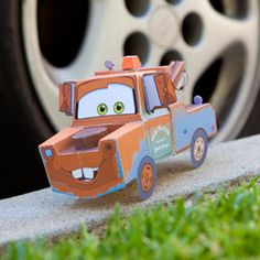 Disney`s Tow Mater Papercraft - by Disney Family Disney Cars Party, Disney Cars Birthday, Cars Birthday Parties, Tow Mater, 3d Paper Crafts, Paper Toys, Paper Car, Activities For Kids, Crafts For Kids