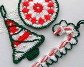 Crochet Christmas Ornaments Decorations - Pack of 3