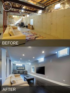 Basements Remodeling sidd & nisha's basement before & after pictures | basements, house