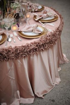 Wedding party, reception table, linens, wedding decor, table setting, wedding reception, blush linens, florals, luxury wedding