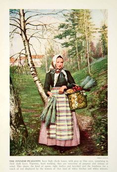 Finnish peasant woman in traditional dress, Folk Costume, Costumes, East Of The Sun, Ancient History, Traditional Dresses, Finland, New Art, Folk Art, Art Gallery