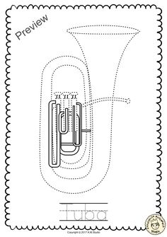 This File In PDF Form Contains 7 Brass Instruments Trace And Coloring Pages Each Page An Instrument Picture To Color The Name Of