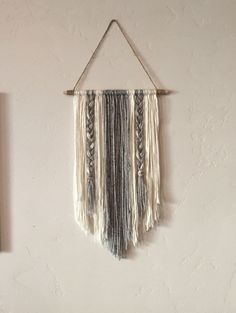 Modern Yarn Wall Hanging Gray and Ivory by BraidedLovelies on Etsy www.etsy.com/...