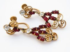 Antoinette 12K GF Vintage Red and White by ERAtiqueJewels on Etsy, $22.00
