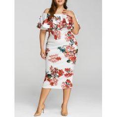 Plus Size Floral Print Ruffle Dress - White 3xl Casual Mid-Calf