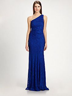 David Meister - One-Shoulder Lace Gown