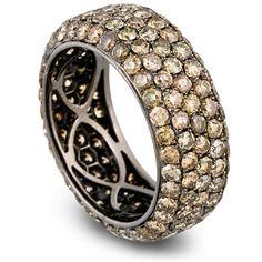 Lussori Brown Diamond Ring, Pave Diamond Eternity Ring