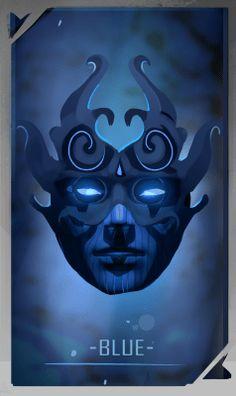 BLUE mask for FAWKES novel, artwork by @mishmadoodls