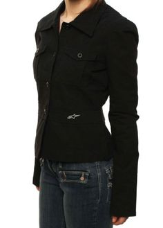 "Alpinestars Women's ""astars"" Button Up Utility Military Jacket Black-small"