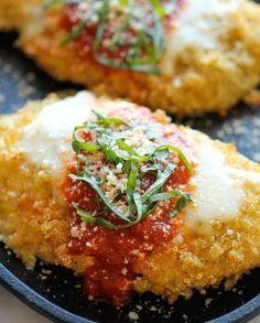 Quinoa Chicken Parmesan.With an amazingly crisp quinoa crust.