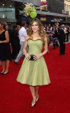 Pin for Later: 50 Times SJP Was a Real-Life Carrie Bradshaw  In Alexander McQueen and a Philip Treacy hat at the London premiere of the Sex and the City movie in '08.