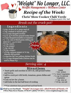 """Wednesday's Weekly Recipe: """"Chris' Slow Cooker Chili Verde"""" A perfect Ideal Protein friendly No Carb Recipes, Healthy Crockpot Recipes, Clean Recipes, Protein Recipes, Diet Recipes, Turkey Recipes, Healthy Meals, Healthy Food, Ipa Recipe"""