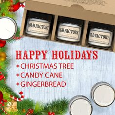 "GIFT IDEA: Scented, Natural Soy Wax Candles. Burns Clean, Even, and True-To-Scent for Hours. Perfect as a gift, or for your own home. Hand-poured in the USA. ""HAPPY HOLIDAYS"" themed gift set of 3 different 2 ounce candles. Includes Christmas Tree, Candy Cane, Gingerbread. -"