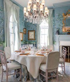 Dining Room Blue, Elegant Dining Room, Dining Room Design, Dining Table, Dining Rooms, Dinning Nook, Traditional Decor, Traditional House, Interior Decorating