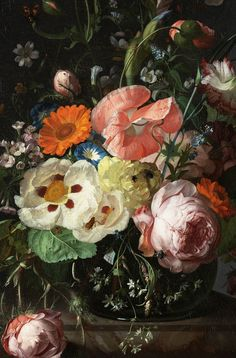 Rachel Ruysch. Still life with Flowers on a Marble Countertop, 1716.