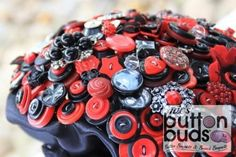 Black & Red Button Bouquet by Nic's Button Buds - Photo Button in bouquet