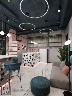 "De&De/Beauty salon ""tricky mechanics"" on behance salon lighting, restaurante hotel, Nail Salon Design, Nail Salon Decor, Hair Salon Interior, Beauty Salon Decor, Beauty Salon Design, Makeup Studio Decor, Home Beauty Salon, Beauty Salons, Beauty Studio"
