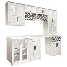 NewAge Products 8 Piece Shaker Style Home Bar with Wine Storage Shaker Style Cabinets, Shaker Style Doors, Wine Cabinets, Kitchen Cabinetry, Small Bars For Home, Home Bar Cabinet, Diy Home Bar, Home Bar Accessories, Wine Storage