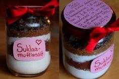 Suklaamuffinssit purkissa Bff Gifts, Valentines Day, Wicked, Cupcakes, Pudding, Jar, Baking, Desserts, Christmas