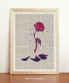 Flower Beauty and the Beast Watercolor Disney Pink Print Art Princess Girl Gift Rose Red Original Upcycled Dictionary Book A4 8.3 x 11.7 in