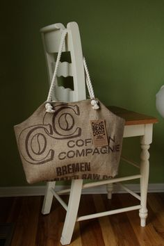 Recycled Burlap Coffee Sack Market Tote, C Print. $40.00, via Etsy.