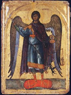 Late 13th Century; Museo Nationale di San Matteo, Pisa. Here we see Michael carrying a medallion of Christ in his hand. The angel also holds a scale on which we see a human soul in the balance. The demon attempts to pull the scale down but Michael uses his wand or spear to stop him. The icon is painted in early Paleologian style. The heavy modelling of the figure, flashing highlights and classical proportions of the icon place it soon after the reconquest of Constantinople by the Emperor…