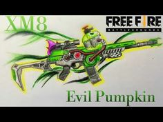 How to draw XM8 Green Evil Pumpkin || Garena Free Fire || Vẽ XM8 Khói Ma - YouTube